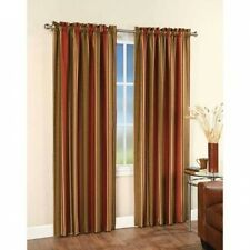 Faux Silk Stripe Tailored Rod Pocket Curtain Panel. Free Delivery