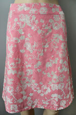 New White Stuff size 12 14 A line Pink Grey Floral Crochet Cotton Skirt