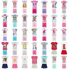Girls Kids Baby Toddler Disney Pyjamas pjs Short Sleeve T-Shirt Shorts Set 1-12Y