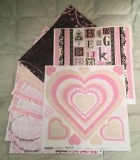 Scrapbooking Kit 12x12 Pink Black Love Notes: Patterned Paper Cardstock Stickers