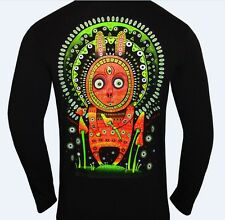 Psy Bunny long sleeve t shirt glows UV psychedelic shrooms trip festival clothes