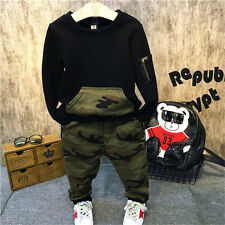 2PCS Kids Baby Boys Long Sleeve Camouflage Tops+Pants Outfits Casual Clothes Set