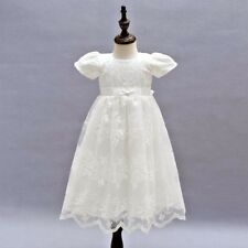 Vintage Baby Girl Baptism Dress Ivory Embroidery Christening Lace Gown 3M-24M