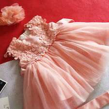 Cute Pink New Born Baby Baptism Dress Christening Lace Gown Dress Party 3-12M