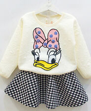 2pcs Cartoon Toddler Baby Girls Duck Tops+Skirt Party Dress Outfit shop clothing