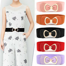 Women Ladies Metal Bow Buckle Stretchy Belt Faux Leather Corset Waist Band NEW