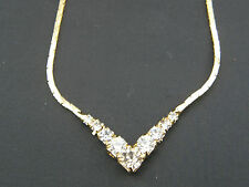 LOVELY GOLD TONE V SHAPED NECKLACE WITH CRYSTALS 18
