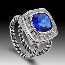 Blue Sapphire Crystal Wedding Jewelry SET 925 Silver Gemstone Ring Size 7 8 9