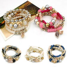 4Pcs Trendy Women Multilayer Faux Crystal Bead Elastic Bracelet Bangle Jewelry