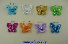 "12pc Multi-color Nylon Stocking Butterfly Wedding Decorations 2"" Free Shipping"