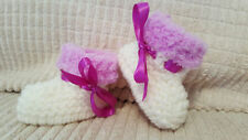 BABY GIRLS CREAM/ LILAC HAND KNITTED ARAN BOOTS / BOOTIES - EB  - 12-18 MONTHS