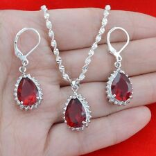 925 Silver Ruby Fashion Jewelry 24 inches Necklace Pendant Earrings Jewelry Set