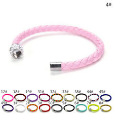 Fashion BU Leather Bracelets Chain Bangle Charms Crystal Rhinestone Beads JB
