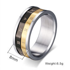 Hot Men's Size 6-9 Roman Numerals Spinner Band Titanium Steel Wedding Rings Gift