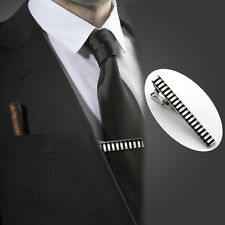 Mens Silver Stainless Steel Enamel Tie Clip Skinny Collar Bar Men