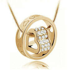 Women's Fashion Crystal Chain Rhinestone Gift Love Heart Ring Pendant Necklace E