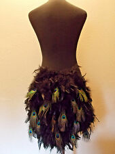 Peacock Feathers Ribbon Bird Showgirl Halloween Costume Tail Tutu Bustle Skirt