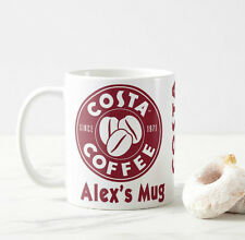 PERSONALISED COSTA COFFEE MUG Coffee Tea Cup Office Work Latte Drink Gift Idea