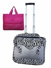 """16"""" rolling laptop computer bag wheel storage briefcase roll carry on color gray"""