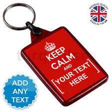 Keep Calm And Carry On Personalised Custom Text Keyring Key Fob Chain   Red