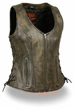 Motorcycle ladies biker Distressed brn leather vest with side laces light weight