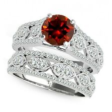 1 Carat Red Diamond Lovely Solitaire Halo Wedding Fancy Ring Band 14K White Gold
