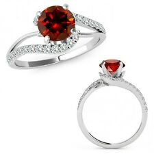 1 Carat Red Diamond By Pass Solitaire Halo Engagement Ring Band 14K White Gold