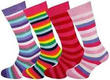 4 Pairs Girls Stripey Long thick Winter Welly Socks Size 6-8 - 9-12