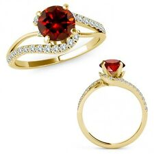 1 Carat Red Diamond By Pass Solitaire Halo Engagement Ring Band 14K Yellow Gold