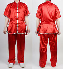 Wushu Uniform  Red   Uniforms Taichi Kung Fu Chinese Silver Trim ChangQuanKungFu