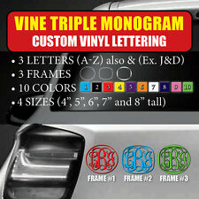 Vine Triple Monogram Custom Vinyl Lettering Text Initial Letter decal sticker