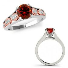0.50 Ct Red Diamond Filigree Solitaire Halo Wedding Ring Band 14K Two Tone Gold