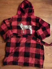 VICTORIAS SECRET PINK BLING SEQUIN BUFFALO CHECK VELOUR DOG HOODE ROBE 1SIZE NWT
