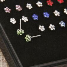 24pcs Crystal Rhinestone Stainless Steel Nose Ring Stud Body Piercing Jewelry