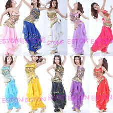 Belly Dance Costume Peppers Top Bra With Gold Wavy Harem Pants Skirt Set