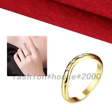 Gold Plated Crystal Rhinestone Engagement Anniversary Promised Finger Ring CZ