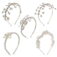 Women Bridal Crystal Floral Bead Pearl Hairband Tiara Headband Wedding Headpiece