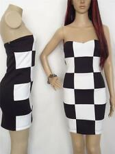 BEBE checkered white black dress strapless scuba fit cocktail womens dress S M