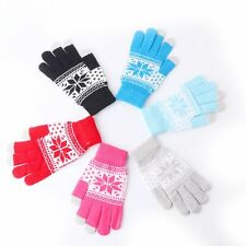 Soft Fashion Men Women Warm Winter  Knitted Snowflake Touch Screen Gloves
