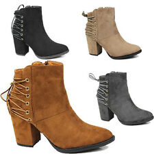 WOMENS LADIES CHUNKY HEEL LACE FASHION CHELSEA COWBOY ANKLE BOOTS SHOES SIZE 3-8