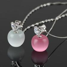 Fashion Charm Crystal Small Apple Opal Silver Plated Pendant Necklace