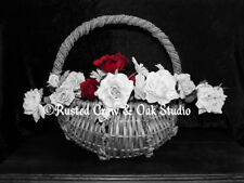 Black White Flowers in Basket Red Roses Home Decor Wall Art Matted Picture A249