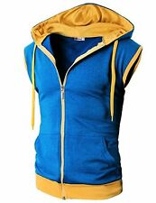 H2H Mens Active Casual Color Blocks Sleeveless Hoodie Zip-up - Choose SZ/Color