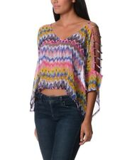 BNIP LADIES SENSES CLOTHING COLOURFUL TOP SIZE 10 12 14 16 OPEN SLEEVES