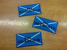 1 x Iron 'n' Sew Patch Embroidered Scottish Saltire Flag fae Scottish Towns