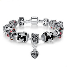 European Heart Silver Charm Crystal Bead Bracelet with All Charms Women Jewelry