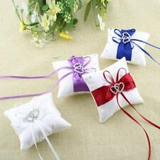 Ribbon Rose Ceremony White Crystal Cushion Heart Wedding Ring Pillow Bearer
