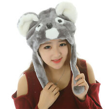 Cute Girls Cartoon Animal Pink Hat Plush Beanie Fleece Winter Warm Cap Earmuff
