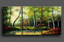 Framed !!! HAND PAINTED FOREST LANDSCAPE OIL PAINTING MODERN ABSTRACT WALL ART
