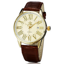 Casual Mens Leather Strap Roman Numerals Date Automatic Mechanical Wrist watch